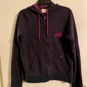 Roots purple zip up hooded sweatshirt XL